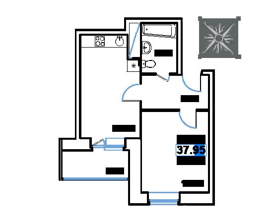 ЖК Рациональ, Корпус 1 в ЖК Рациональ, Секция 2, Этаж 21, №449