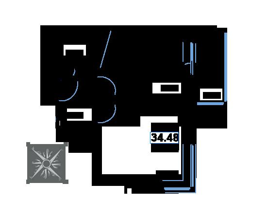 ЖК Рациональ, Корпус 1 в ЖК Рациональ, Секция 1, Этаж 3, №22