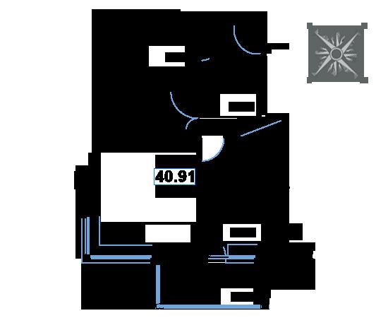 ЖК Рациональ, Корпус 1 в ЖК Рациональ, Секция 1, Этаж 6, №54