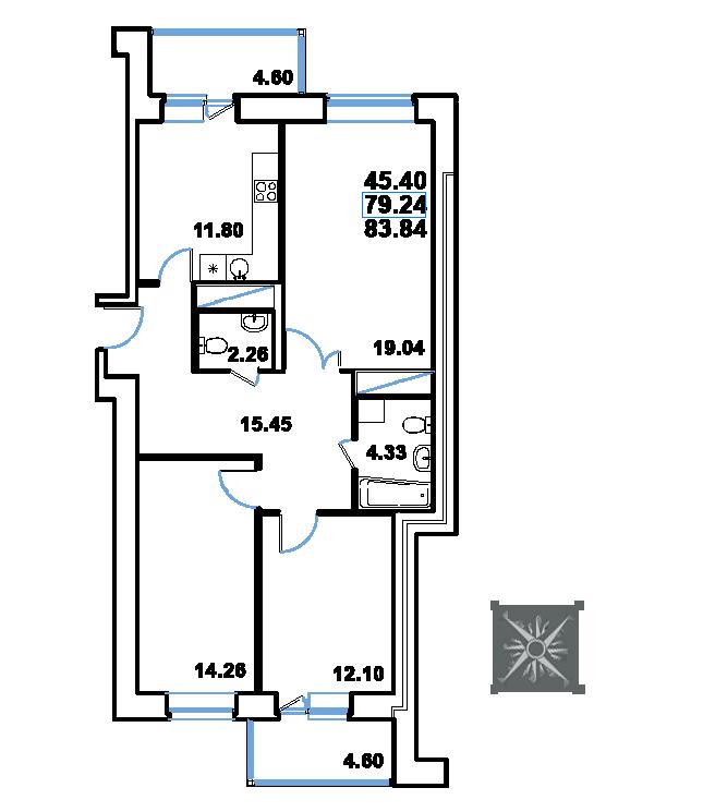 ЖК Рациональ, Корпус 1 в ЖК Рациональ, Секция 2, Этаж 22, №455